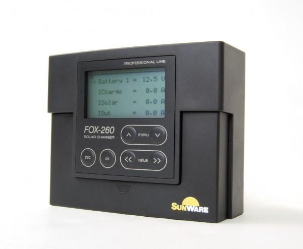 SunWare FOX-260 Solarladeregler LCD, 20A, 12V/24V