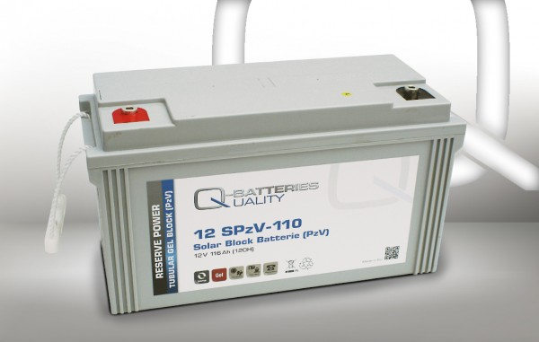 Q-Batteries Solar Block 12SPzV-110 / 12V 116Ah (120H) Gel-Panzerplatte