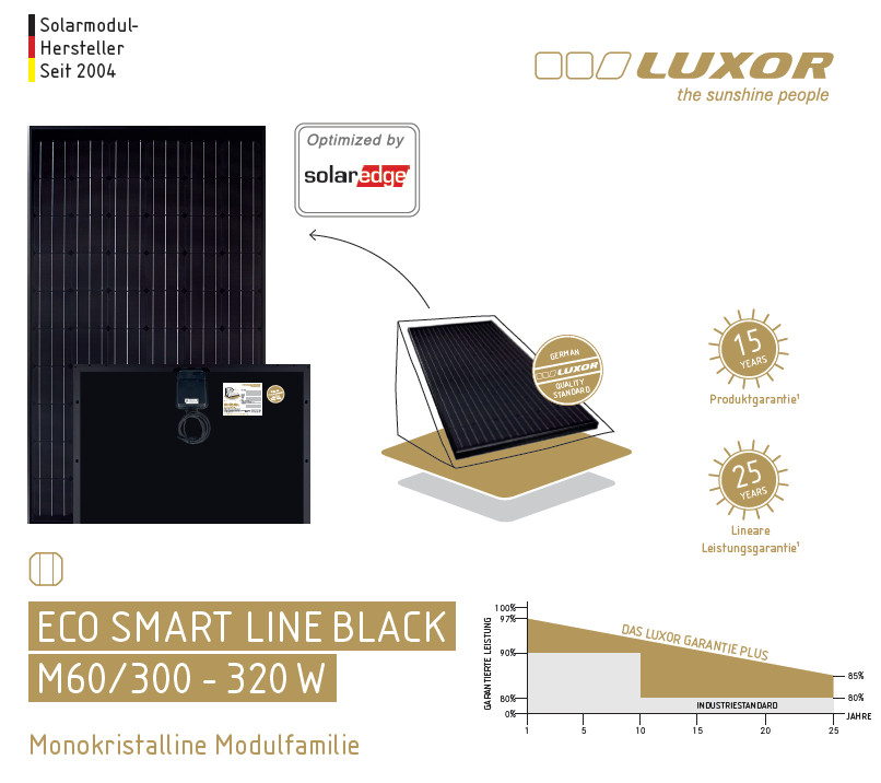 luxor eco smart black m60 300 wp solaredge i photovoltaik4all. Black Bedroom Furniture Sets. Home Design Ideas