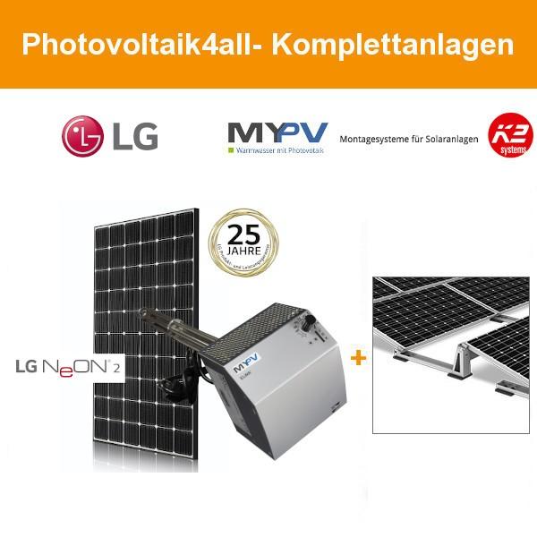 Netzautarke 2 kWp LG Photovoltaikanlage mit Heizstab für Flachdach
