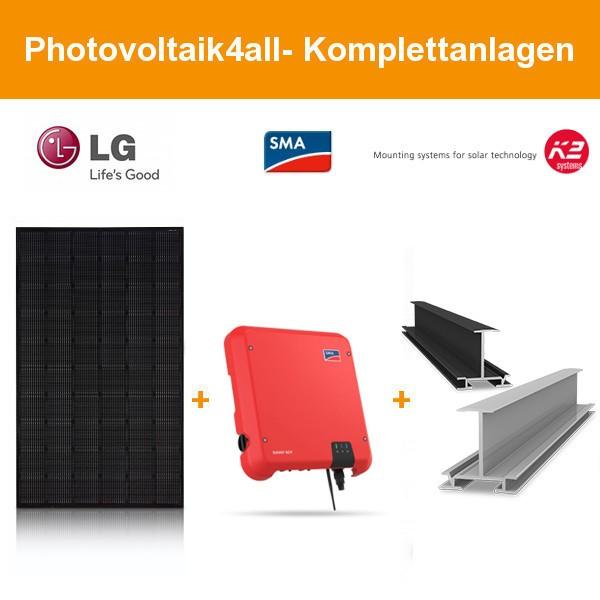 5 kWp LG Solar PV-Anlage mit K2 Einlegesystem Fullblack