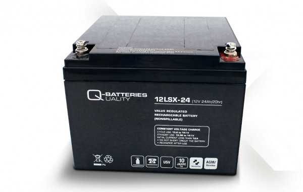 q batteries 12lsx 24 12v 24ah blei vlies akku 10 jahre photovoltaik4all the online store. Black Bedroom Furniture Sets. Home Design Ideas
