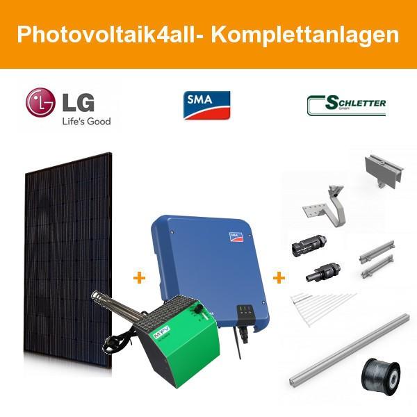 9,520 kWp LG Solar LG340N1K-V5 NeON 2 Photovoltaikanlage mit Heizstab