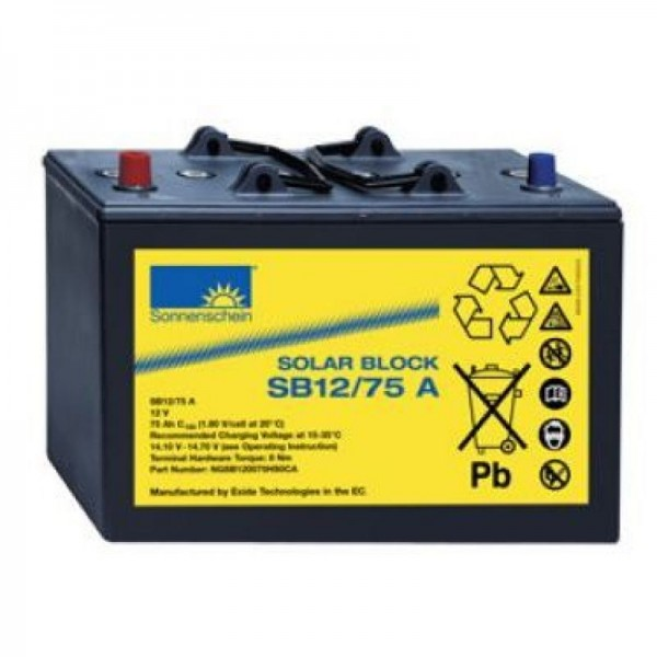 Exide Sonnenschein Solar Block SB12/75 A - 12V / 75 Ah