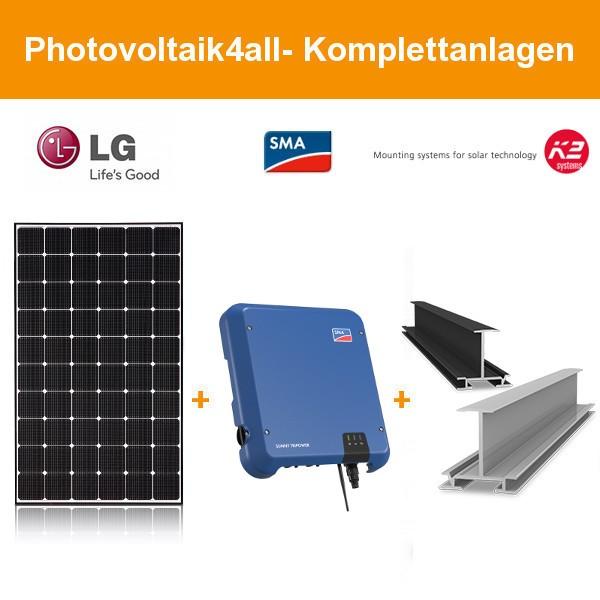 5 kWp LG Solar PV-Anlage mit K2 Einlegesystem schwarz