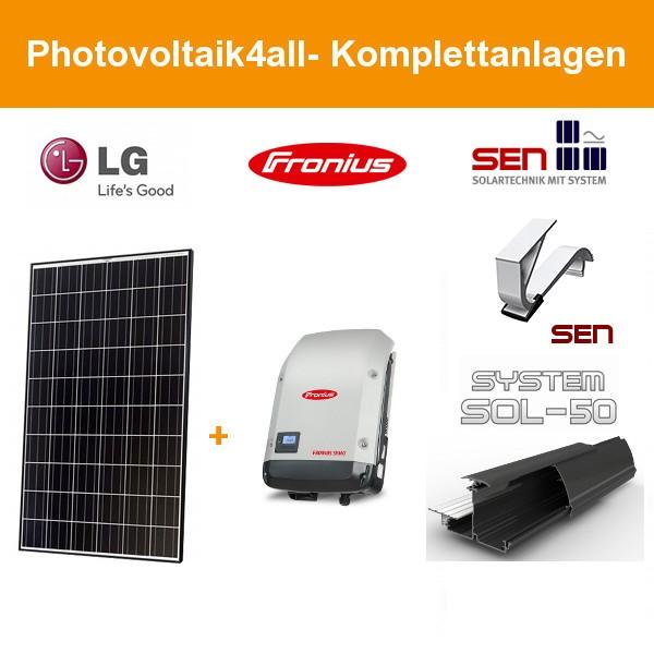 4,5 kWp LG Solar PV-Komplettanlage schwarz elox mit SOL50 Einlegesystem