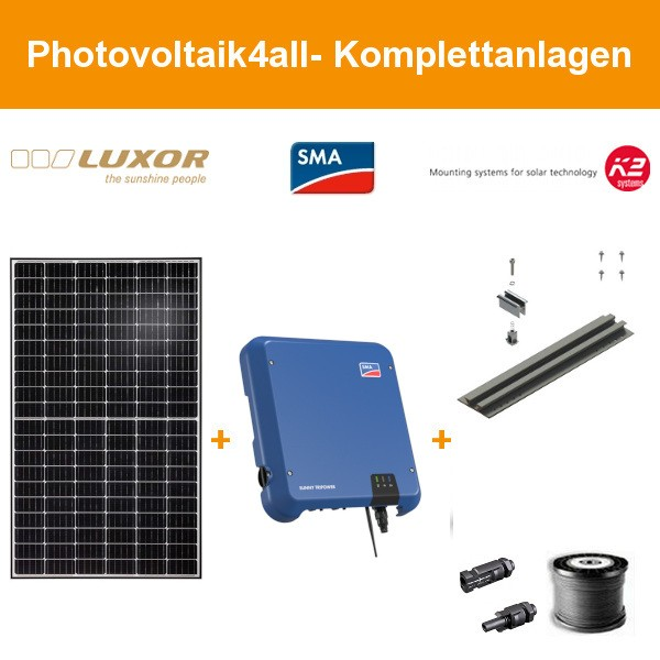 9 kWp Luxor mono 320 Wp - Photovoltaikanlage auf Trapezblech