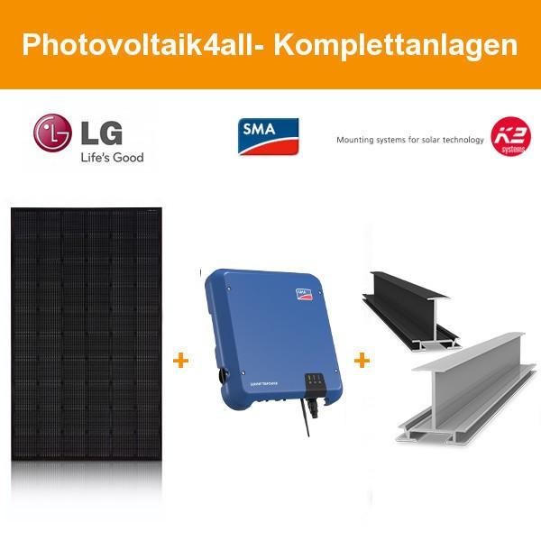 10 kWp LG Solar PV-Anlage mit K2 Einlegesystem schwarz